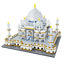 цена 3950pcs DIY World Famous Architecture India Taj Mahal Palace 3D Model Diamond Mini  Building Nano Blocks Toy for Children Gifts онлайн в 2017 году