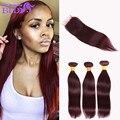 brazilian virgin hair with closure 99j straight hair with closure red hair bundles with closure 3 bundles with closure