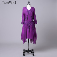 JaneVini Purple Plus Size Mother of The Bride Dresses With Jacket A Line V Neck Lace Appliques Sequined Beaded Jurk Plus Jasje