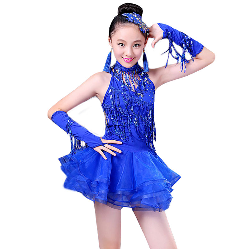 3914364dc5e5 New velvet Adult Child Latin dance costumes stones lace long sleeves ...