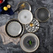 New Ceramic Tableware Phnom Penh Geometry Tableware Ceramic Dinner Plate Dish Porcelain Dessert Plate Dinnerware Cake Plate