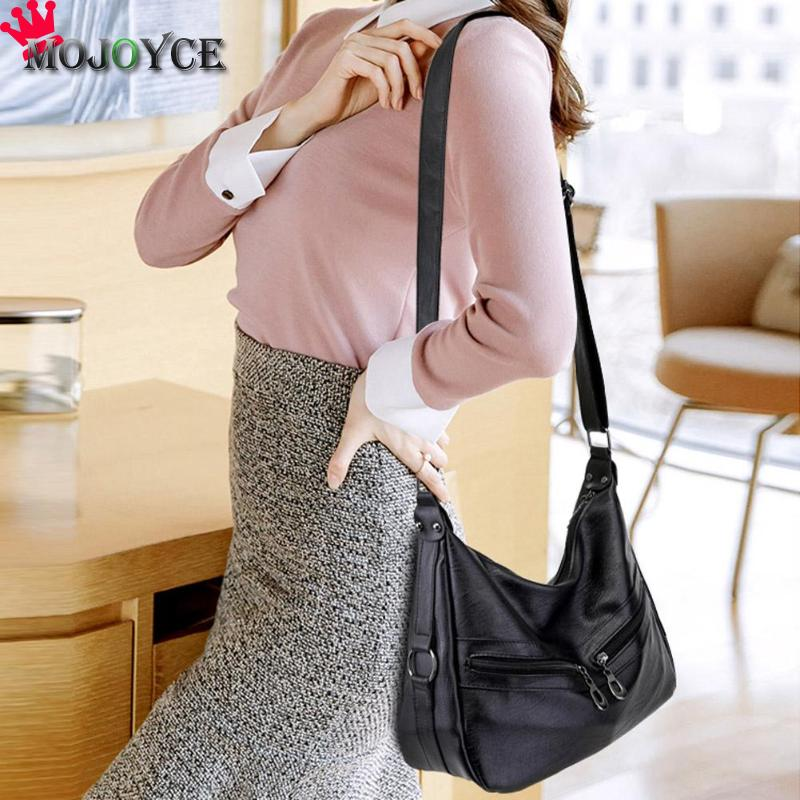 MOJOYCE Vintage Female Bag Women Hobos Handbags Zipper Soft PU Leather Shoulder Crossbody Bag Office Ladies Bag Solid Color Tote 3