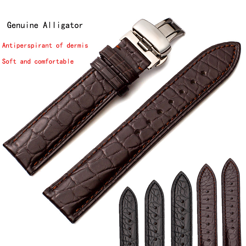 American crocodile leather watch with genuine leather men's doubles, butterfly button strap, female substitute Longines недорго, оригинальная цена