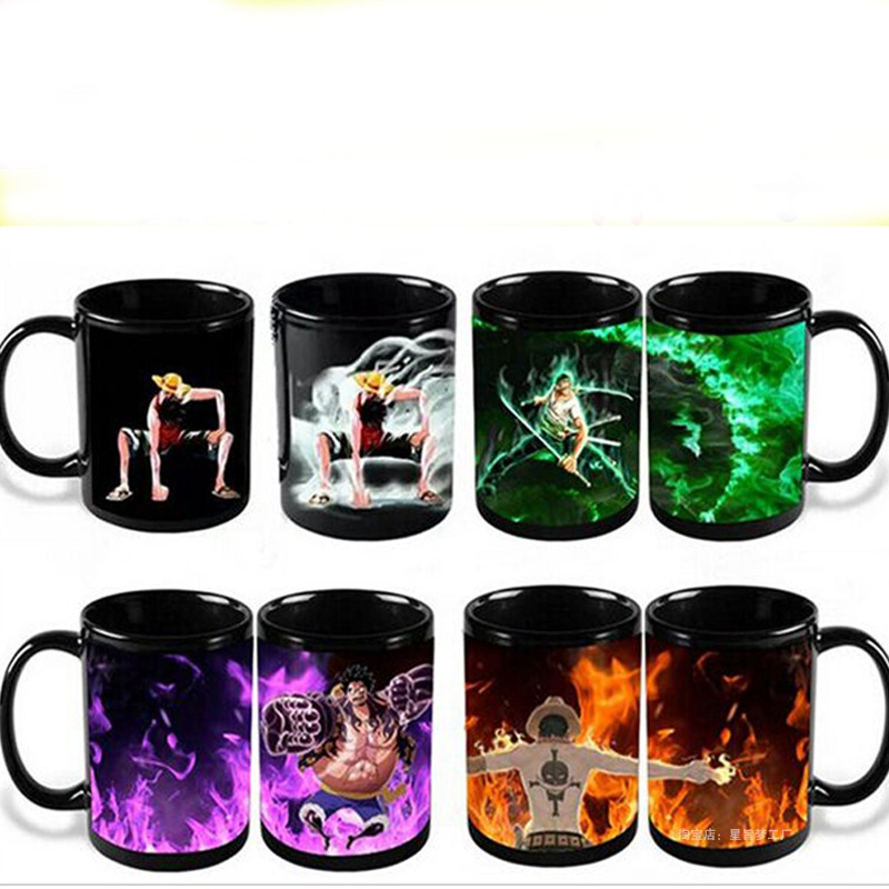One Piece Luffy Zoro Ace Mug Heat Sensitive Color Changing Mugs Cartoon Ceramic Milk Tea Coffee Cup For Christmas Gift