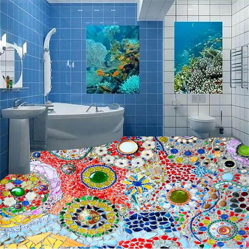 3D Floor Wallpaper Custom 3D Photo Wallpaper Bathroom Mural Mosaic Colored Stone 3D Floor Self-adhesive PVC Waterproof Wallpaper