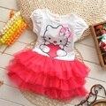 Летние Новорожденных Девочек Одеваться Hello Kitty Пачка Платья Детей Принцесса Vestidos Roupas infantis menina Платье Рождество Девушка Одежда