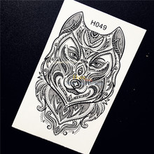 1PC Indian Tribal Wolf Temporary Tattoo Sticker Sexy Body Art For Men Women Party Waterproof Henna Wolf Arm Tattoo Stickers HH49