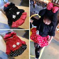 Girls Clothes Set Cartoon Hoody Jacket and Dot Skirt Winter Thick Warm Suit for Baby Girl Lovely Clothing Sets Minnie Sets