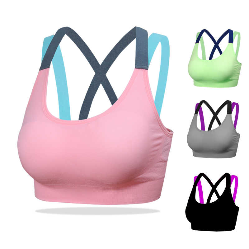 c1a21ccdf1de0 ... Womens Running Bra Fitness Bra Yoga Push Up Sports Bra Gym Running  Padded Sport Bra Top ...