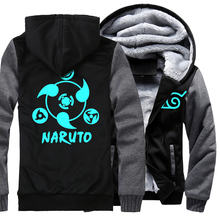 Jacket fashion Men wool liner Sweatshirts Naruto Thick Zipper cartoon Camouflage sleeve Hoodies noctilucous 2019 top tracksuits