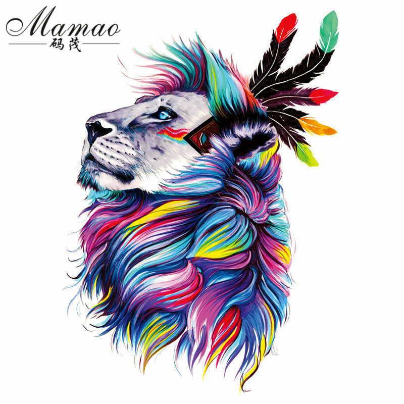 MAMAO Feather Lions Patches 18*27cm Iron On Patches For Clothing A-level Washable Stickers Christmas Gift For Girls Boys