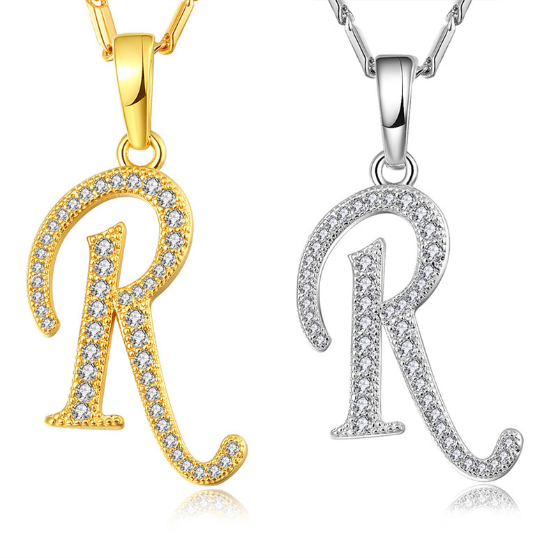 Fashion Letter R Shape Design Embellishment Zircon 18K
