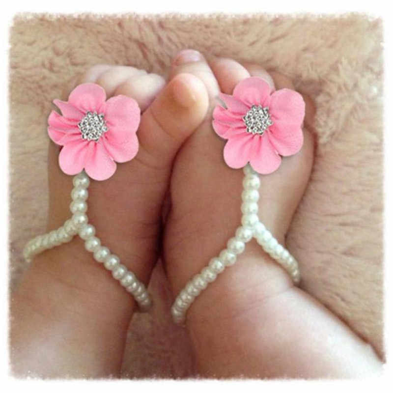 Wholesale  Baby Fashion Feets  Accessories 1Pair Infant Pearl Chiffon Barefoot Toddler Foot Flower Beach Sandals Pink Blue
