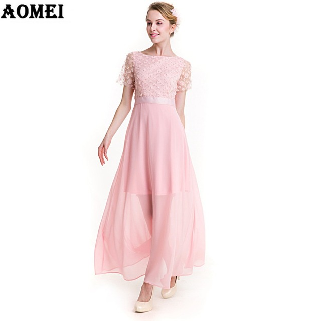 72180e3d56280 Girls Lolita Maxi Long Dress Solid Pink Color Lace With Chiffon Patchwork  Robe Femme Ankle Length