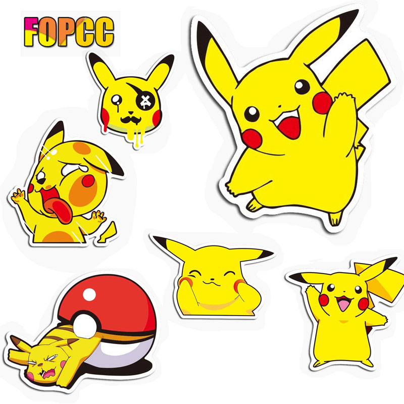 Cute Pikachu Stickers For Children Laptop Home Decor Car Styling Decal Fridge Doodle Cartoon Waterproof Sticker