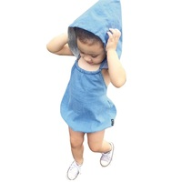 Summer Baby Girls Clothing Imitation Cowboy Conjoined Jeans Boy Girl Cowboy Hooded Rompers Jumpsuit Infant Kid Children Clothes