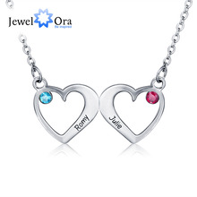 Customized Pendants Necklaces Birthstone Fashionable Double Hearts 925 Sterling Silver Necklaces & Pendants (JewelOra NE101326)