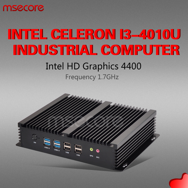 Fanless Intel Core I3 4010U Mini PC Windows 10 Industrial Desktop Computer Nettop barebone system 6COM
