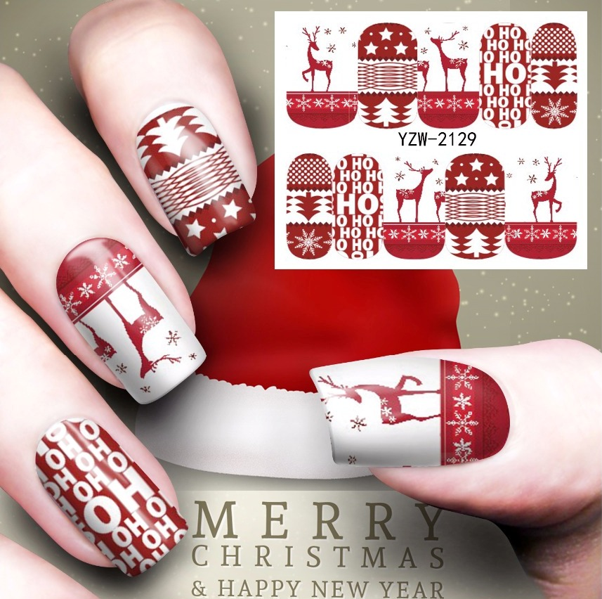купить Water sticker for nails art all decorations sliders merry Christmas deer adhesive nail design decals manicure lacquer foil дешево
