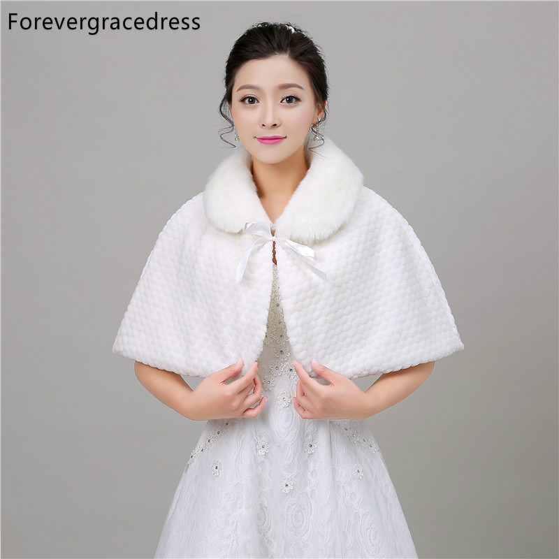 Forevergracedress 2018 Real Photos Faux Fur Stoles Wedding Wrap Winter Bolero Jacket Bridal Accessories Cape Cloak In Stock