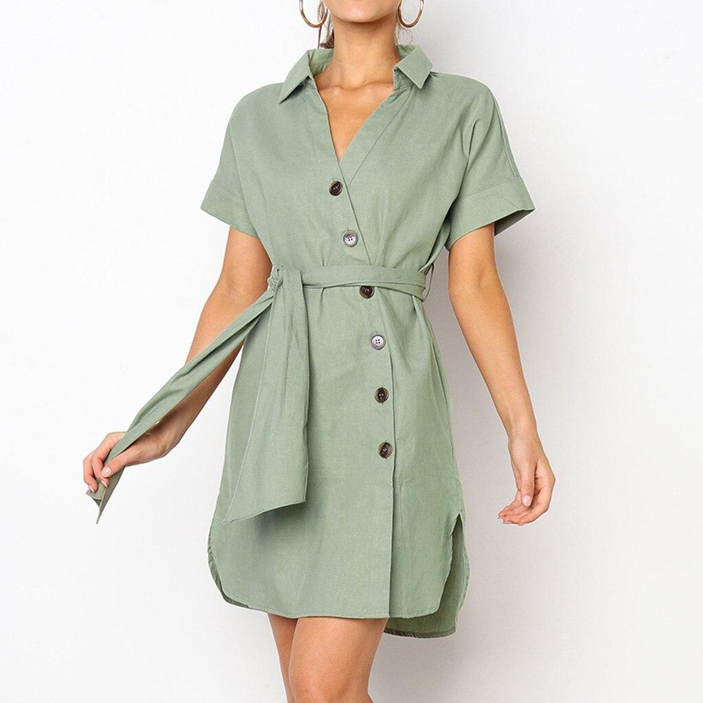 feitong 2019 Women Sexy Buttons Short Sleeveless Dress Princess Dresskleider damen vestidos casuais robe femme #301
