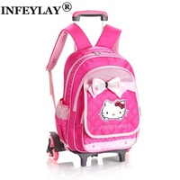 hello kitty girl trolley case Climb the stairs child school bag kids students Detachable suitcase backpack travel luggage gift