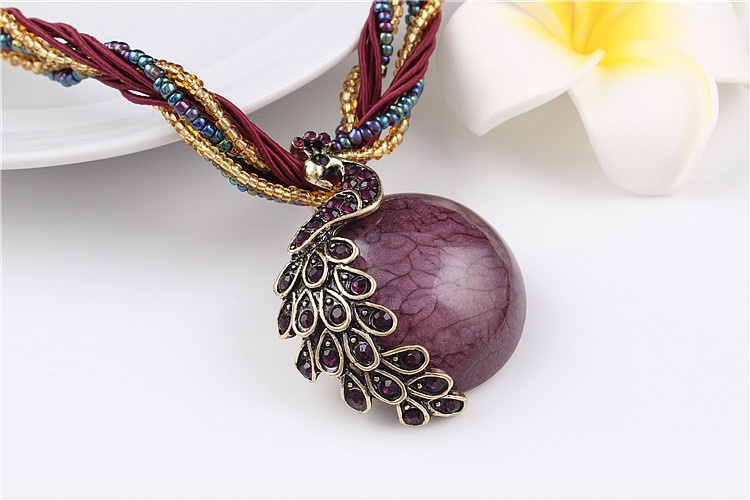 ZOSHI Blue natural crystal stone pendant necklace fashion peacock pendant necklace for women jewelry 19