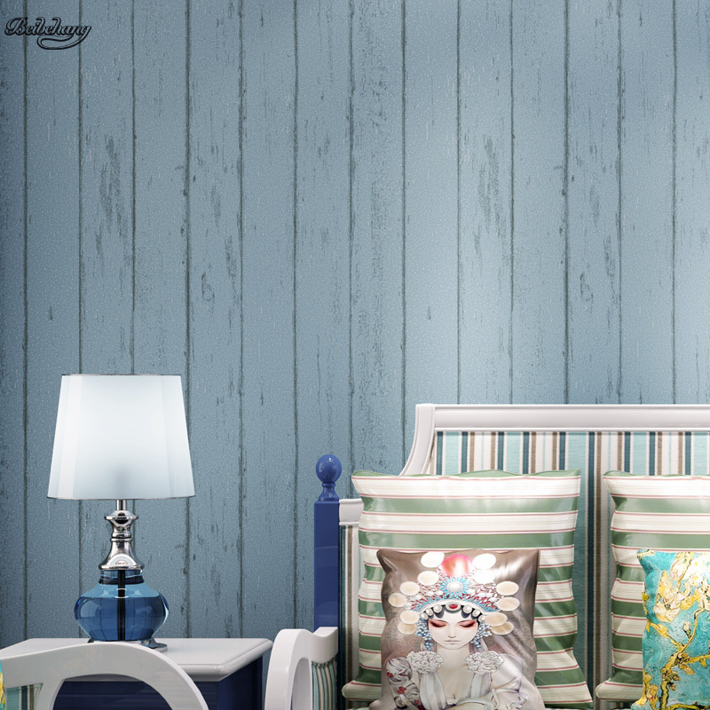 beibehang Nostalgic retro Mediterranean wood grain non-woven wallpaper warm bedroom living room bedroom TV striped background junran america style vintage nostalgic wood grain photo pictures wallpaper in special words digit wallpaper for living room