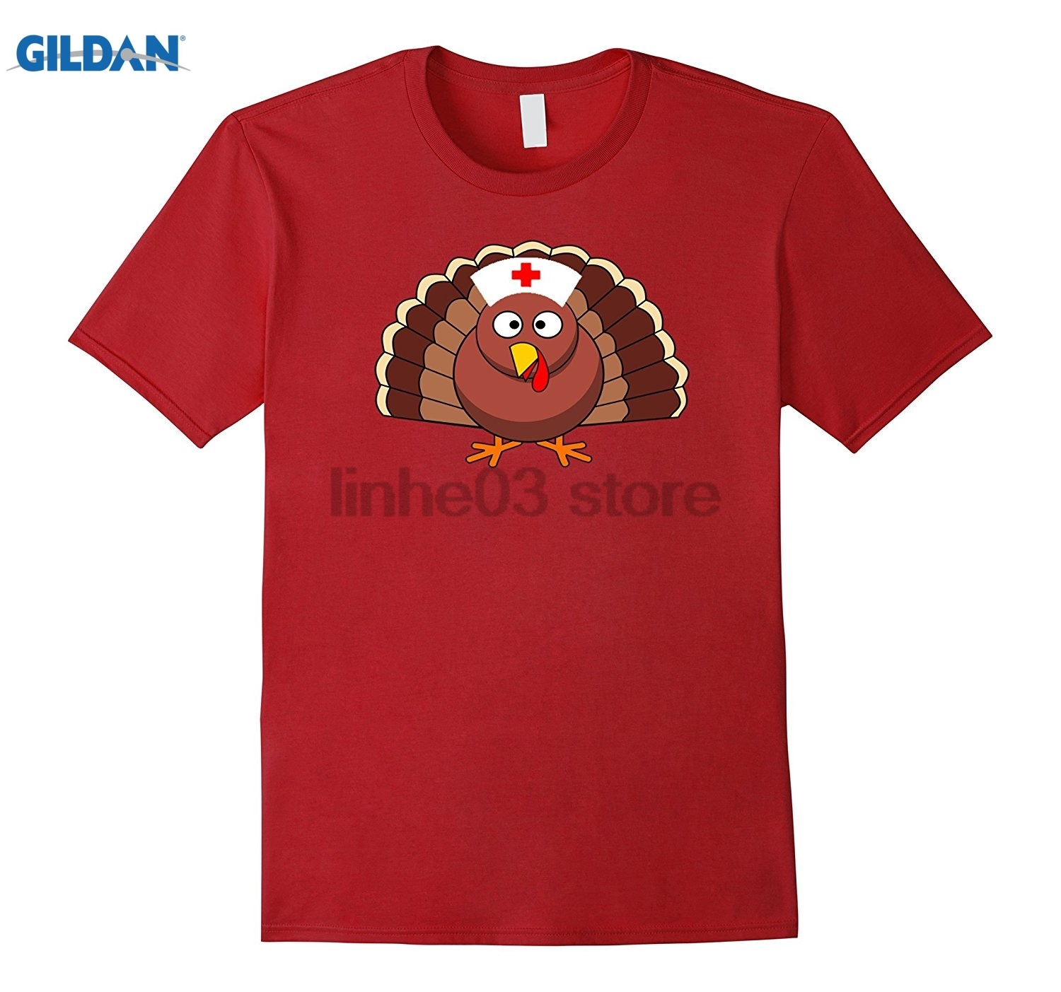 GILDAN Thanksgiving Turkey Nurse Funny Cute T-Shirt Tee glasses Womens T-shirt summer dress T-shirt