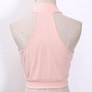Image 5 - נשים חדשות חמות מכירות נשים סקסיות Bustier Vest יבול טנקים העליונים טנקי Vest חולצות הולו מתוך קצר מוצק