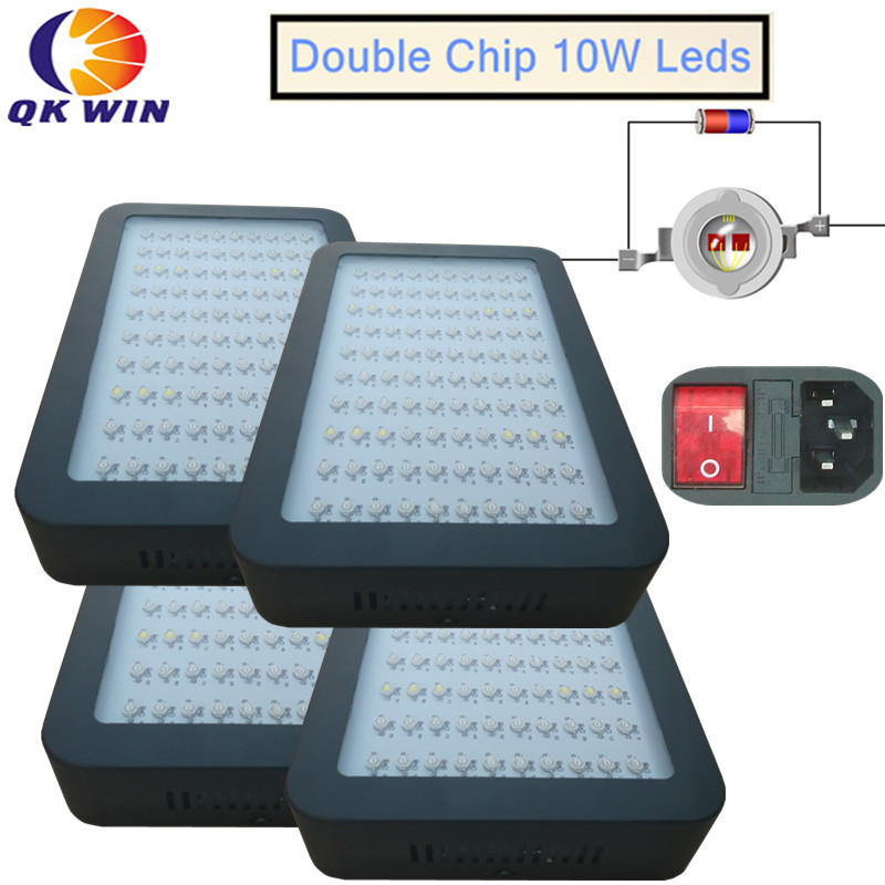 4pcs/lot New type 1000W LED Grow Light 100x10W on/off button Full Spectrum Grow Lights For Indoor Plants Flowering And Growing купить