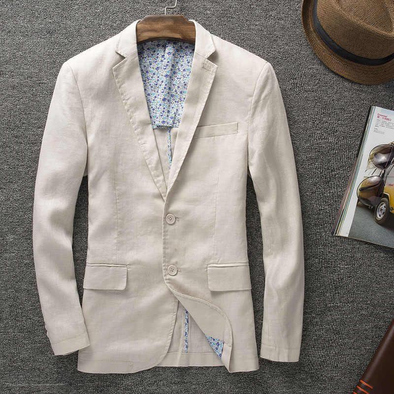新着高品質の天然男性ファッション男性のリネンスーツのジャケットスリムブレザースーツ秋価値マネーサイズ m L XL XXL 3XL