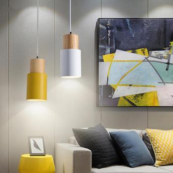 E27 Tavan Lambası Tutucu Asılı ışık soketi Ahşap Kolye Taban Basit İskandinav Dekor Ev Otel Için Ada Mutfak