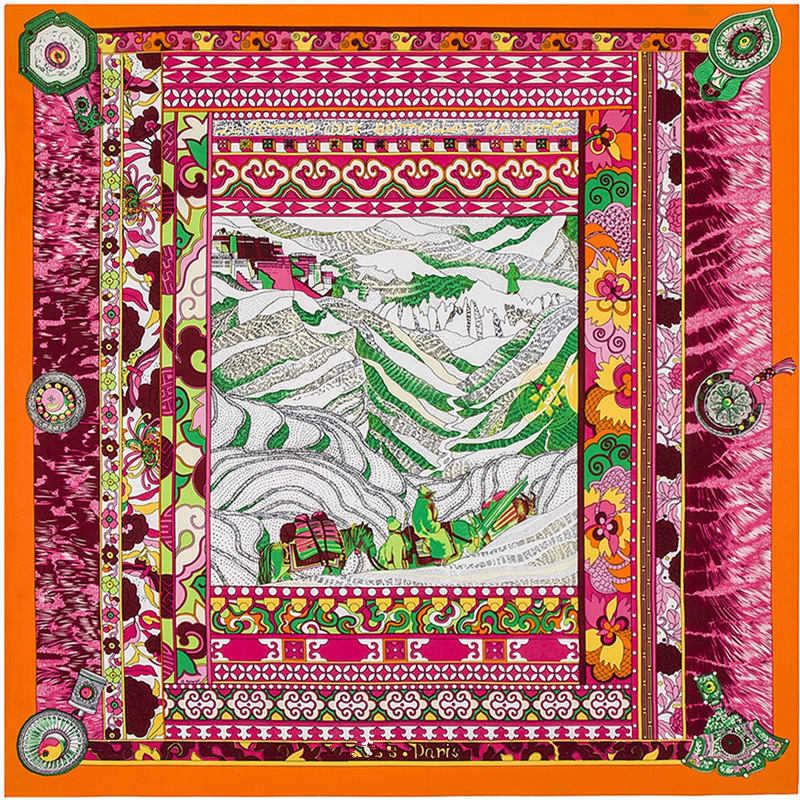 Super Large Twill Silk Women Scarf 100*100 High Quality Gift Silk Shawls Euro Design National Wind Montain Print Square Scarves