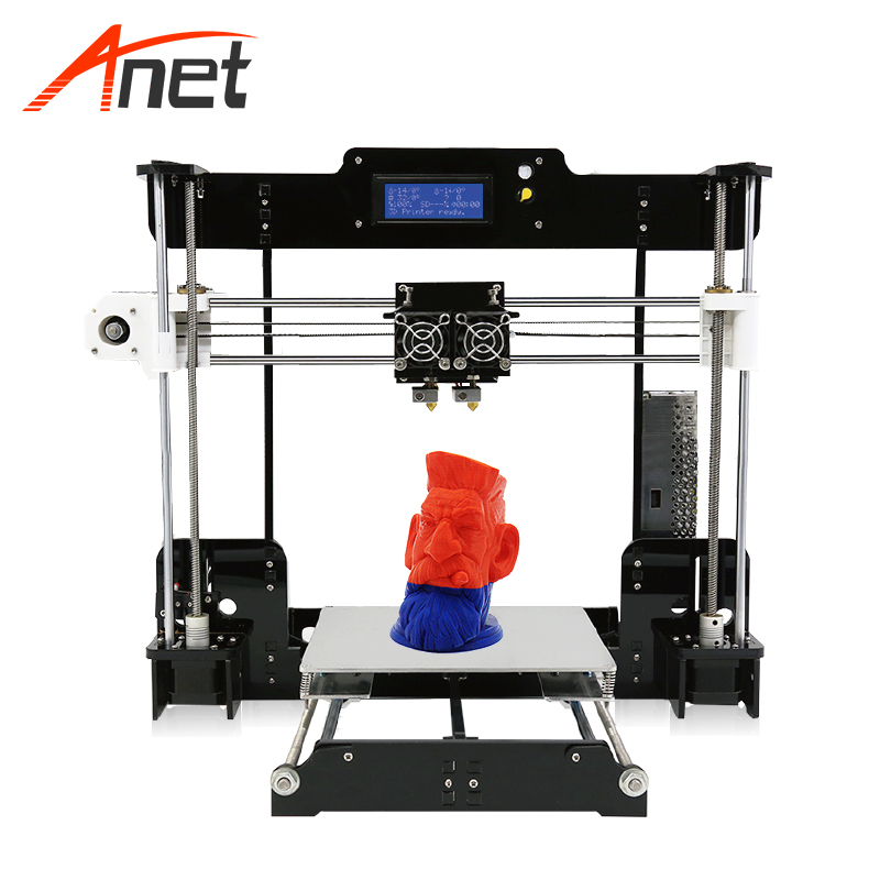 High Precision Dual Extruder Prusa i3 3D Printers Kit Anet A8M imprimante 3d DIY Desktop LCD2004 3D Printer with PLA Filament