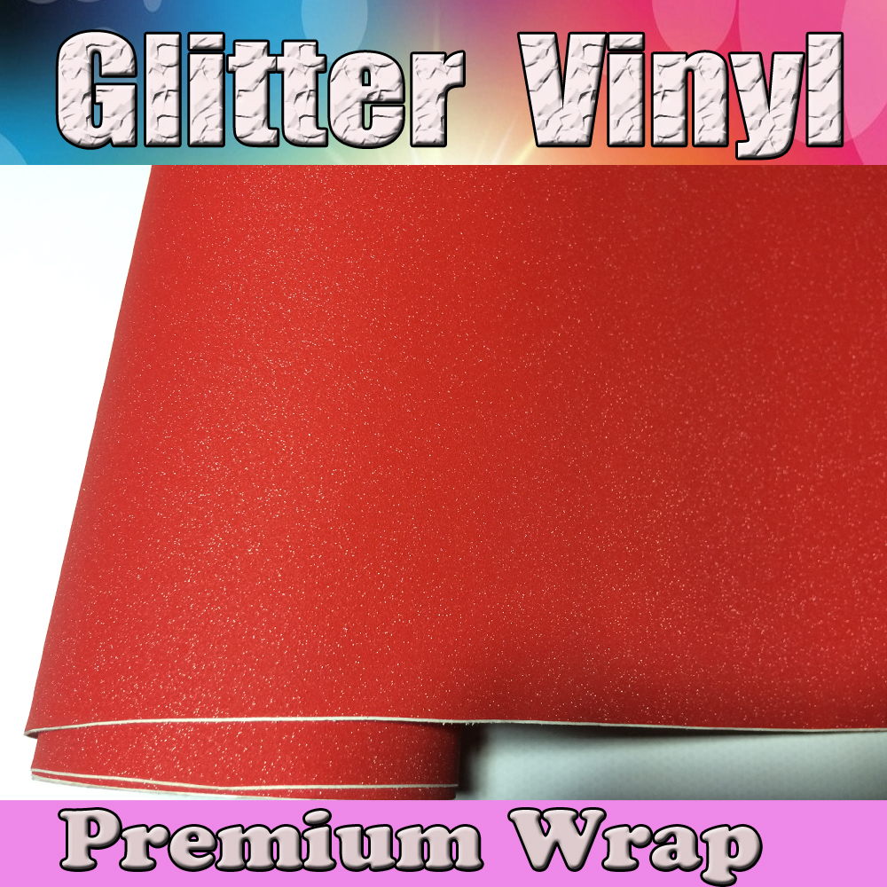 Red Glitter Sparkle Vinyl Car Wrap Sticker Pearl with Air bubble Free Decal Film CARS LAPTOPS FURNITURE1.52x30m/Roll 5x98ft