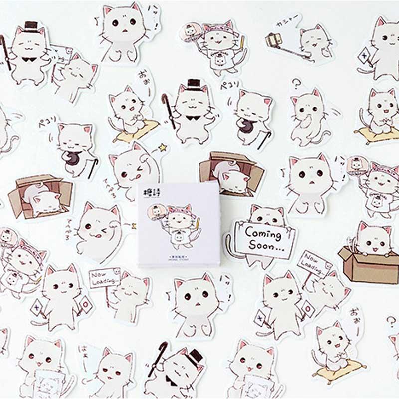 45Pcs/box Kawaii Strawberry Stickers Label Diary Adhesive Paper Flake Japanese Cute Cat Sticker Decorative Planner Scrapbooking