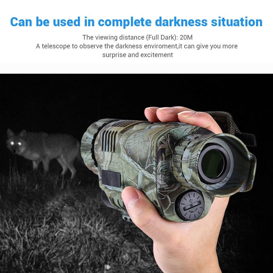 Boblov 5x40 infrarrojo 8GB Monocular 1.44 Zoom Vision Nocturna Binoculares de Alcanc Monocular De Visi/ón Nocturna Hacer Foto Video