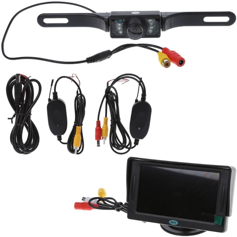 """Car Rear View System Monitor 4.3/"""" TFT LCD+Night Vision Backup Reverse Camera Kit"""