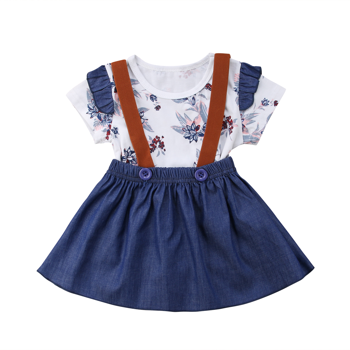 2PCS Newest Sale Toddler Kids Baby Girl HOT STYLE Floral Short Sleeve Bodysuit+Denim Solid Skirt Fashion Outfits Set 0-24M