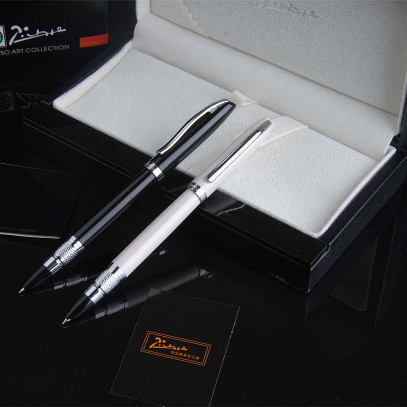 Picasso Pimio 83 Luxury Pure Black and Silver Clip 8K Metal Financial Fountain Pen with 0.38 Mm Nib for Gift Free Shipping hero 310b metal fountain pen