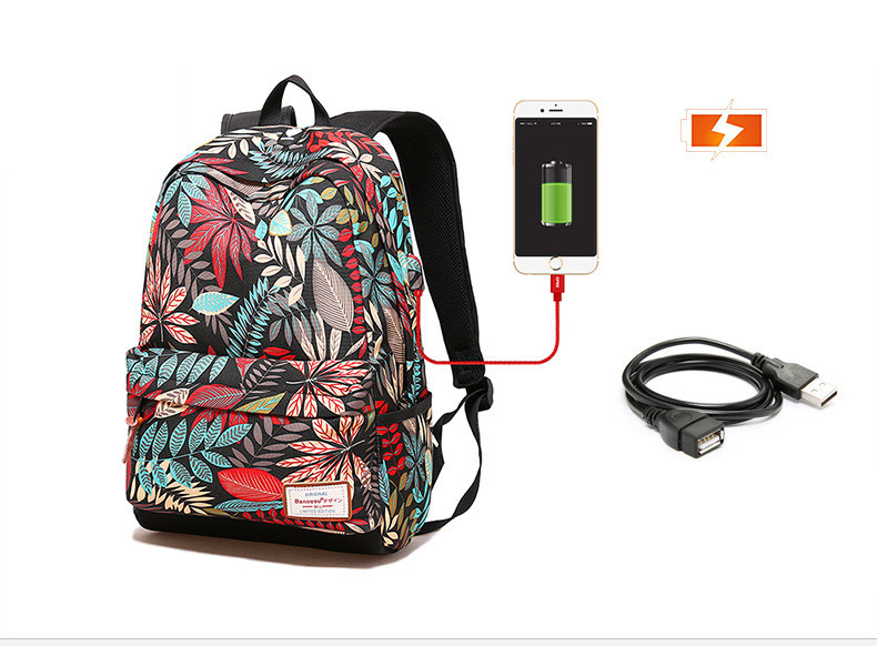 HTB182N7QG6qK1RjSZFmq6x0PFXaL - Hot USB Charging Laptop Women's Backpack For Teenage Students Girls School Backpack Printing Female Travel Bagpack