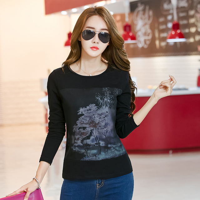 6c9395dea 2018 Women Print Shirt Graphic Tees Women Korean Clothes Spring Ladies Tops  Long Sleeve Mesh Cotton Tshirt Vintage T Shirt Femme