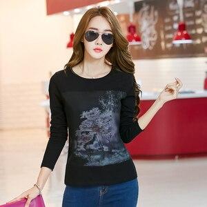 2018 Women Print Shirt Graphic Tees Women Korean Clothes Spring Ladies Tops Long Sleeve Mesh Cotton Tshirt Vintage T Shirt Femme