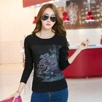 Tee Shirt Long Sleeve Woman T Shirt Womens Tops Fashion 2016 Tshirt Women Cotton Camisetas Mujer