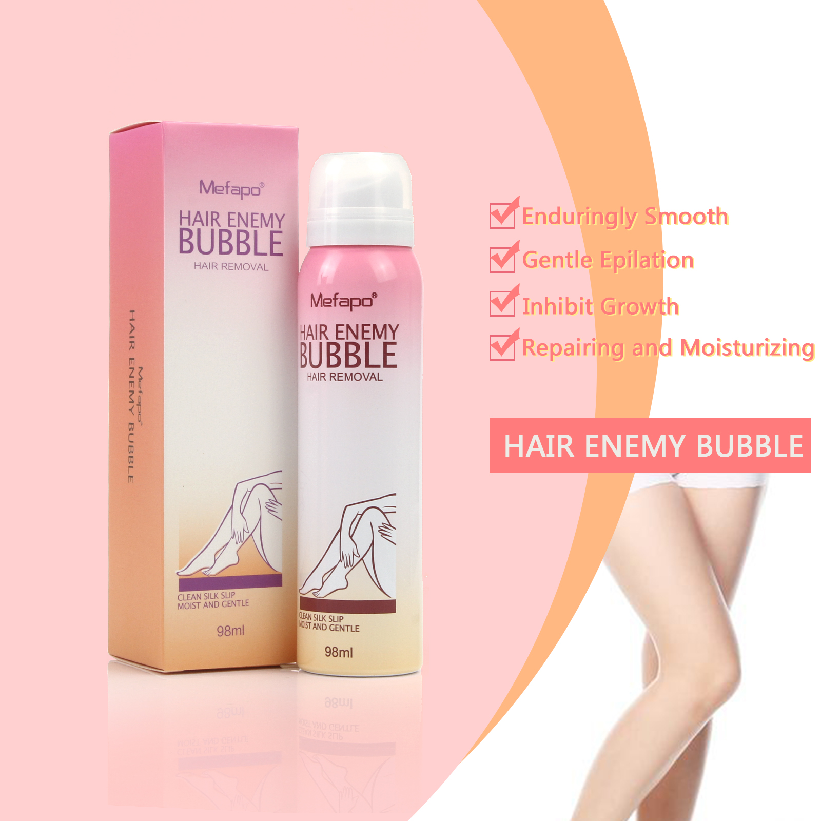 Mefapo Spray Hair Enemy Bubble Away Painless Depilatory Cream