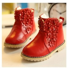 Girls Flower Flat Ankle Boots