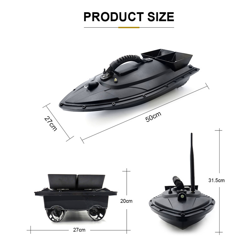 Flytec 5 Generation RC Boat 500M 5.4km/h 50X27X20cm Remote double warehouse Fish Finder Electric Fishing Bait Double Motor Toy 53000459