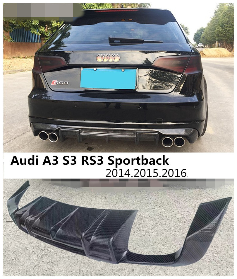 Carbon Fiber <font><b>Rear</b></font> Lip Spoiler For <font><b>Audi</b></font> <font><b>A3</b></font> S3 RS3 Sportback 2014 2015 <font><b>2016</b></font> Car Bumper <font><b>Diffuser</b></font> Auto Accessories image