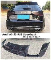 Fibra de carbono spoiler traseiro para audi a3 s3 rs3 sportback 2014 2015 2016 amortecedor do carro difusor acessórios automóveis